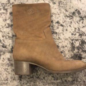 Chanel Mid Calf Calfskin Suede Boots Sz. 40